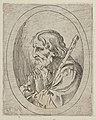 Saint Jude in prayer, seen in profile facing left with a staff resting on his shoulder, in an oval frame, from Christ, the Virgin, and Thirteen Apostles MET DP837907.jpg