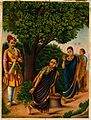 Sakuntala with two females surprised by King Dushyanta. Chro Wellcome V0045072.jpg