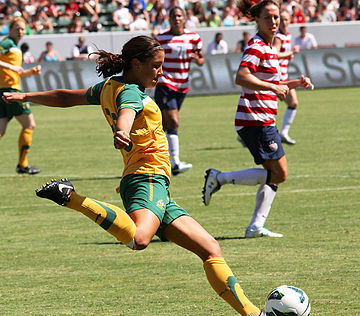 Australian national team forward Samantha Kerr playing against the United States in Carson, California, 2012