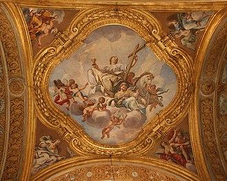 Luigi Garzi - Allegory of Faith: Fresco by L. Garzi in the vault above the left aisle of Basilica Santi Ambrogio e Carlo al Corso