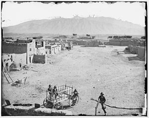 Pueblo of Sandia Village, New Mexico - Sandia Pueblo in the late 1800s.