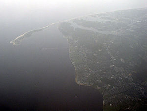 Raritan Bayshore - Oblique air photo facing east