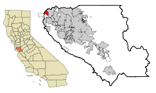 Santa Clara County California Incorporated and Unincorporated areas Stanford Highlighted.svg