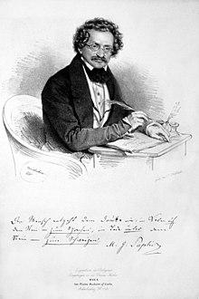 Moritz Gottlieb Saphir, Lithographie von Joseph Kriehuber, 1835 (Quelle: Wikimedia)