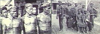 Lun Bawang - Sarawak; Left picture showing four Lun Bawang tribesman, previously called Trusan Muruts, photos taken by ethnologist Charles Hose in 1896.