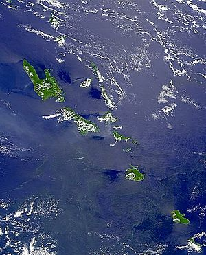 Outline of Vanuatu - An enlargeable satellite image of Vanuatu