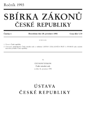 Law of the Czech Republic - The Constitution of the Czech Republic as published in the Collection of Laws