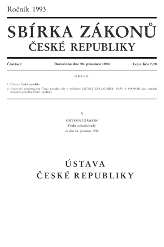 Constitution of the Czech Republic - Page one of the Constitution