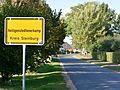 Schleswig-Holstein, Heiligenstedtenerkamp, die Ortstafel mit dem längsten Namen in Deutschland NIK 0357.JPG