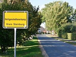 Schleswig-Holstein, Heiligenstedtenerkamp, die Ortstafel mit dem längsten Namen in Deutschland