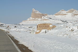 Nebraska Highway 92 - Scotts Bluff National Monument. The road is the Oregon Trail, a former alignment of N-92