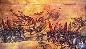 Hernán Cortés - Cortés scuttling his own fleet off the coast of Veracruz in order to eliminate the possibility of retreat.