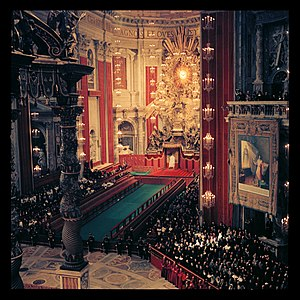 Roman Catholic (term) - The interior of Saint Peter's Basilica, cathedral of the Diocese of Rome.