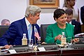 Secretary Kerry Chats With Commerce Secretary Pritzker Before the Opening Session of the Annual U.S. India Strategic and Commericial Dialogue at the Jawarhalal Nehru Bhawan in New Delhi (29339167775).jpg