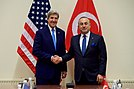 Secretary Kerry Shakes Hands With Turkish Foreign Minister Çavuşoğlu at NATO Headquarters in Brussels (31317368532).jpg