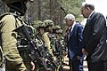 Secretary of Defense Chuck Hagel and Israeli Minister of Defense Moshe Ya'alon, speak with members of the K-9 Special Forces Unit at Camp Adam in Israel, April 23, 2013.jpg