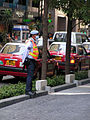 Security man with anti-pollution mask in Hong Kong.JPG