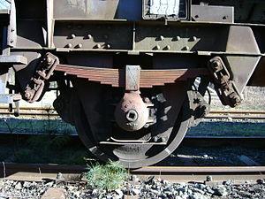 Running gear (rail transport) - Single axle running gear on a self-discharging hopper