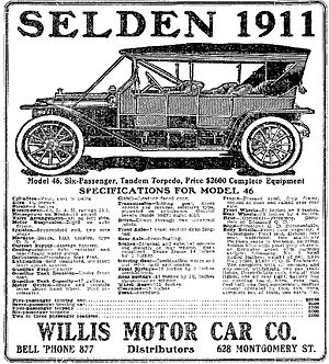 Selden Motor Vehicle Company - A 1911 Selden Advertisement - Model 46, Six-passenger, Tandem Torpedo, Price $2,600 - Syracuse Post-Standard, January 28, 1911