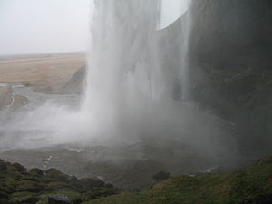 Plunge pool - Surface of the Seljalandsfoss plunge pool (Iceland)