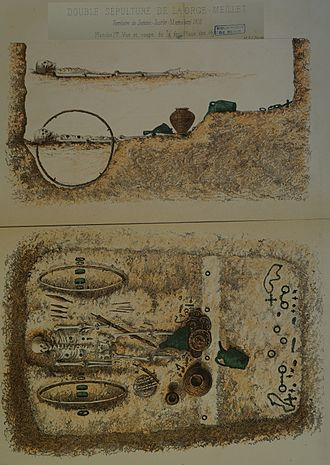 Chariot burial - Drawing of the La Gorge-Meillet burial; the chariot-driver was interred above his master.