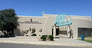El Paso Public Library - The Sergio Troncoso Branch of the El Paso Public Library, 9321 Alameda Avenue, El Paso, Texas.