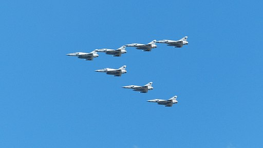 Seven Mirage 2000s of ROCAF 499th Wing Flyover Banqiao District, New Taipei 20140906