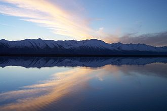 Mackenzie Basin - The Ben Ohau Range from the eastern shore of Tekapo B hydrogenerator station headgate pond
