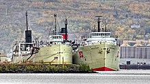 ships at dock seen in front of Duluth