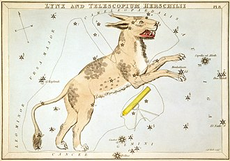 Lynx (constellation) - Illustration from Urania's Mirror (1825). The obsolete constellation Telescopium Herschelii is to its right.