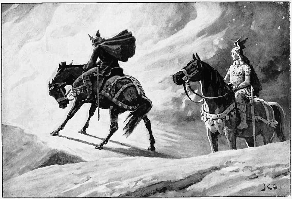 Sigurd and Gunnar at the Fire by J. C. Dollman