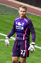 950519bf3 Mignolet with Liverpool in 2013 during Steven Gerrard s testimonial match