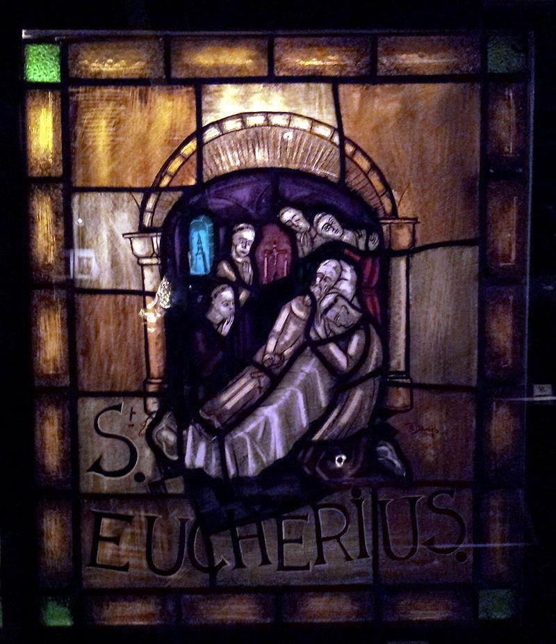 Den hellige Eucherius' død, glassmaleri i skattkammeret i kirken Vår Frue i Sint-Truiden