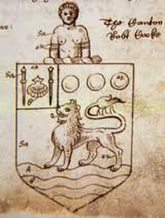 John Hawkins (naval commander) - The later grant of arms to John Hawkins in 1571, with the addition bearing heraldic symbols related to Riohacha, Colombia (then Rio de la Hacha), for his notable victory there, the addition being; on a canton or, an escallop between two palmers staves sable.