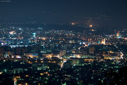 Panorama of Skopje at night.