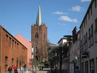 Slagelse Municipality - Image: Slagelse Stenstuegade med vue mod Skt. Mikkels Kirke