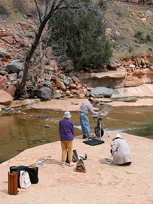 En plein air - Painters gathered at Slide Rock State Park, Arizona, in 2006.