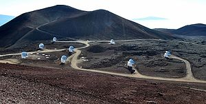 Very-long-baseline interferometry - The eight radio telescopes of the Smithsonian Submillimeter Array, located at the Mauna Kea Observatory in Hawai'i.