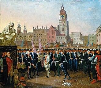 Main Square, Kraków - Kościuszko taking the oath at the Rynek. 1797 painting by Franciszek Smuglewicz