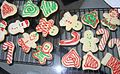 Snowmen, bells, and candy cane sugar cookies, December 2007.jpg