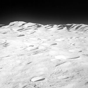 South Pole–Aitken basin - Apollo 8 photograph showing the mountains along the northern rim of the basin