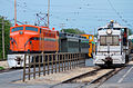 South Shore EP-4 locomotive 803 and Commonwealth Edison switcher 15 at IRM in 2013.jpg