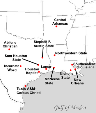 Southland Conference - Locations of Southland Conference full member institutions as of July 1, 2014