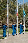 Soyuz MS-02 crew and backup crewmembers conduct the traditional raising of the flags.jpg