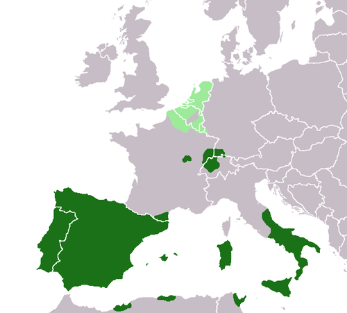 The Spanish Empire in 1580, with the Spanish Netherlands in light green. Spanish Empire around 1580.png