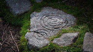 Tibradden Mountain - Stone with spiral pattern inside the chamber.