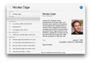 Spotlight (software) - Spotlight in OS X Yosemite on Nicolas Cage