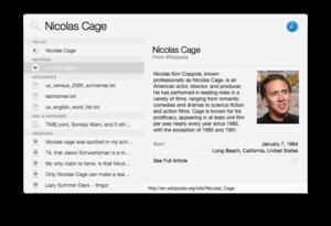Spotlight (software) - Spotlight in OS X Yosemite on Nicolas Cage