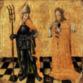 St. Arnold of Soissons and St. Godelieve, 15th century.png