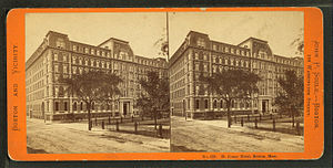 Franklin and Blackstone Squares - St. James Hotel, Franklin Square, Boston, 19th century; photo by John P. Soule